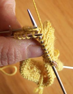 Knitting together picot edge