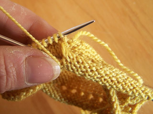 Picking up the first stitch