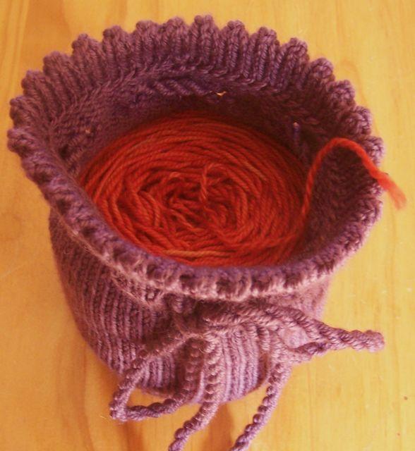Purple with yarn ball