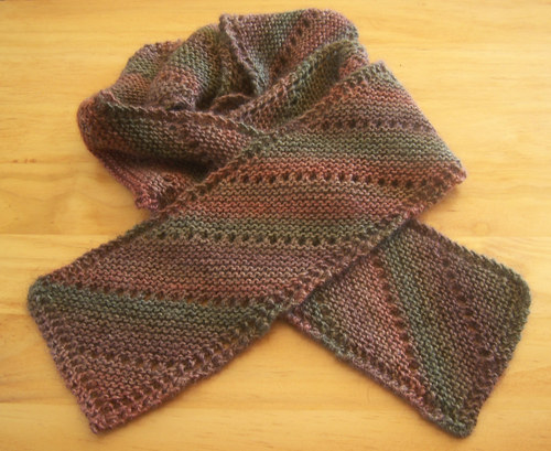 Pattern: Bias Scarves, available as a free pdf file. A fun, easy scarf knit