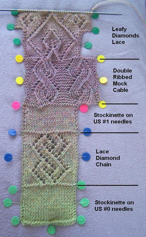 Leafy Diamonds Sock Swatch